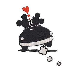 Disney inspired Machine Embroidery Design. 2 Sizes   Mickey and Minnie in love.  Taking a Drive.