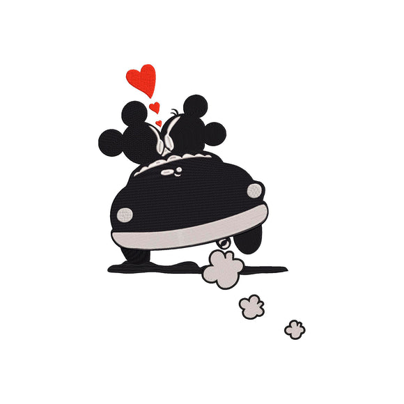 Disney inspired Mickey & Minnie on a Road Trip in Love Machine Embroidery Design. 2 Sizes