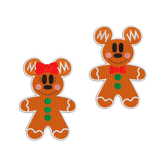 BUNDLE -  Disney Inspired Machine Embroidery Christmas Design. Mickey & Minnie Mouse Gingerbread Cookie.