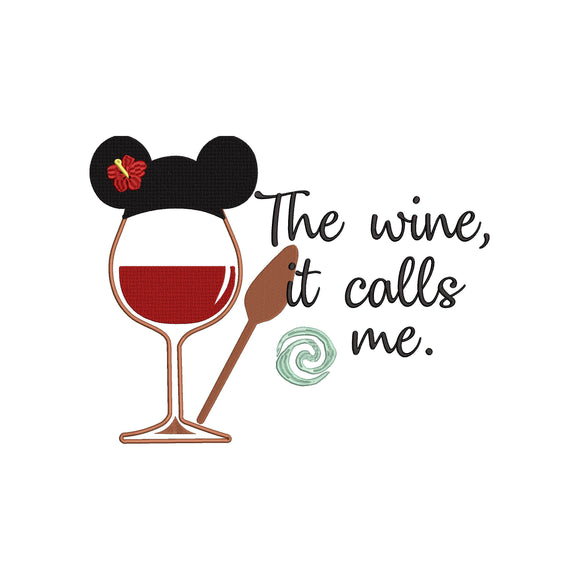 Disney Princess Moana Inspired Wine Glass Machine Embroidery Design Two sizes