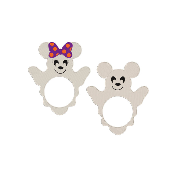 BUNDLE - Disney Minnie and Mickey Mouse as Ghosts Ready for Monogram Machine Embroidery Design. 5 sizes