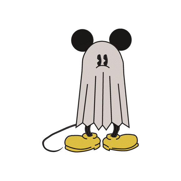 Disney Mickey Mouse dressed up as Ghost Machine Embroidery Design. 6 sizes