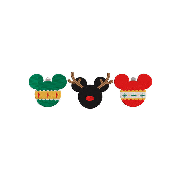 Disney Mickey Mouse Christmas Ornaments Machine Embroidery Design. 5 Sizes