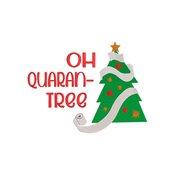 Oh Quarantree Christmas Tree Machine Embroidery Design.