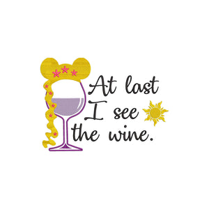 Disney Rapunzel Inspired Wine Glass Machine Embroidery Design