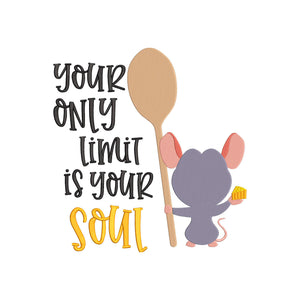 Disney Ratatouille Movie Inspired Machine Embroidery Design.  Your only limit is your soul.