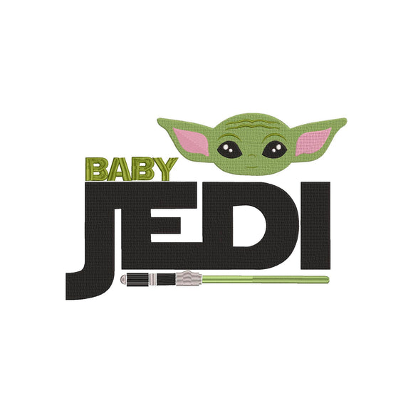 Disney Mandalorian inspired Machine Embroidery Baby Yoda Baby Jedi
