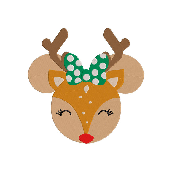 Disney Inspired Machine Embroidery Christmas Design. Minnie Reindeer - Christmas 7 Sizes