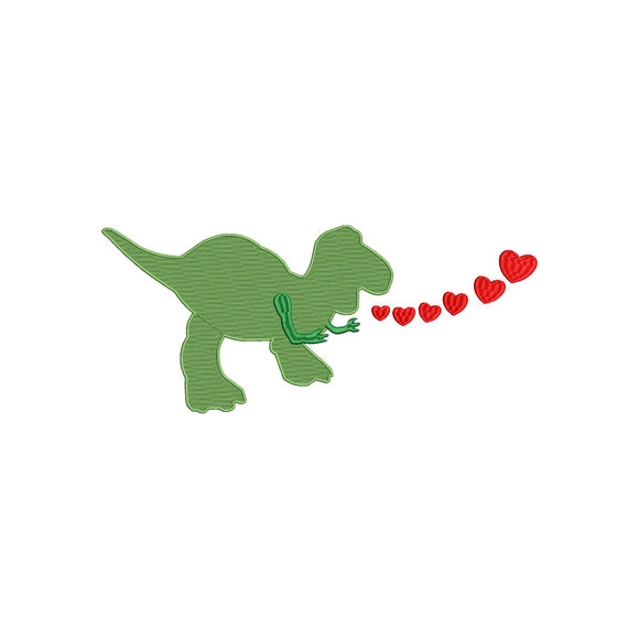 Disney/Toy Story Rex the T-Rex Dino inspired Valentine Machine Embroidery Design. 5 Sizes
