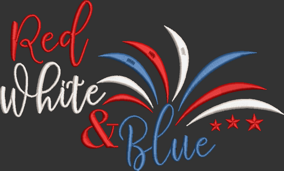 Fourth of July Machine Embroidery Design. Red White & Blue