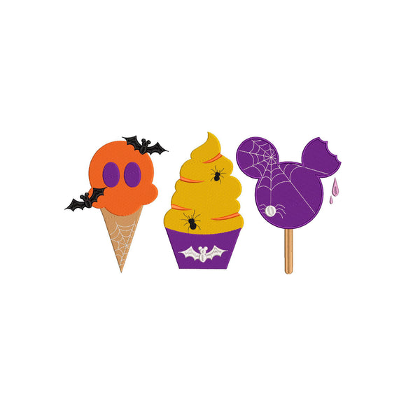 Disney Halloween Snacks inspired Machine Embroidery Design. 5 sizes
