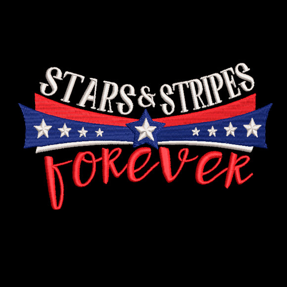 Fourth of July Machine Embroidery Design. Stars & Stripes Forever