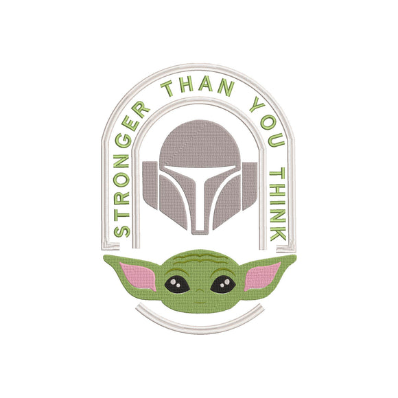 Disney Plus Mandalorian / Baby Yoda inspired Machine Embroidery.  Stronger than you think.
