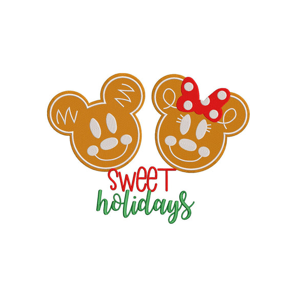 Disney Inspired Machine Embroidery Christmas Design. Mickey & Minnie Gingerbread Cookies.  Sweet Treats