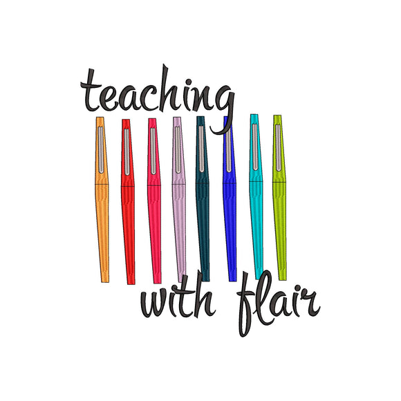 Teaching with Flair.  Flair Pen inspired Machine Embroidery Design.  6 sizes