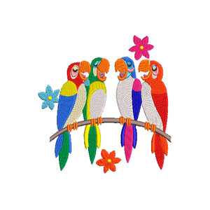 Disney Inspired Machine Embroidery Design Tiki Room Parrots.