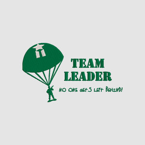 Disney Toy Story inspired Machine Embroidery Design. Green Army Men.  Team Leader.  No One Gets left behind.  2 sizes.