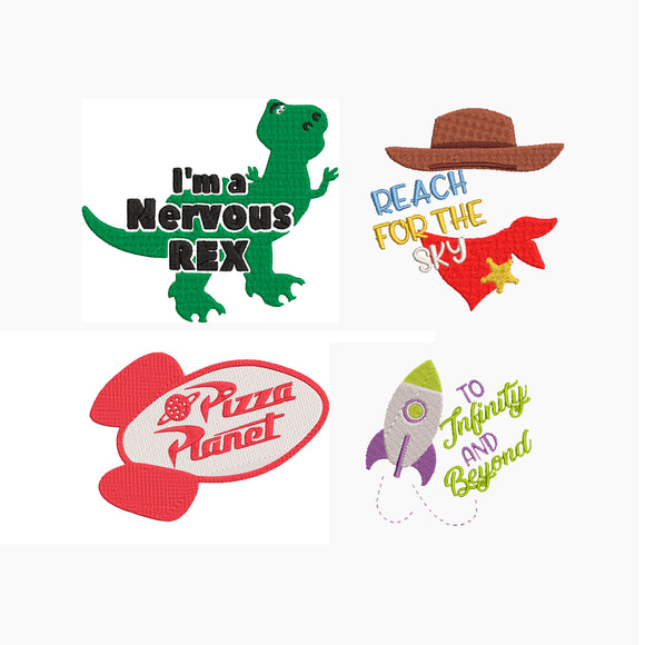 Bundle - Disney Toy Story inspired Machine Embroidery Designs. 4 Designs, Pizza Planet, Woody, Buzz and Rex