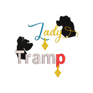 BUNDLE - Disney Lady and the Tramp inspired Machine Embroidery Design.