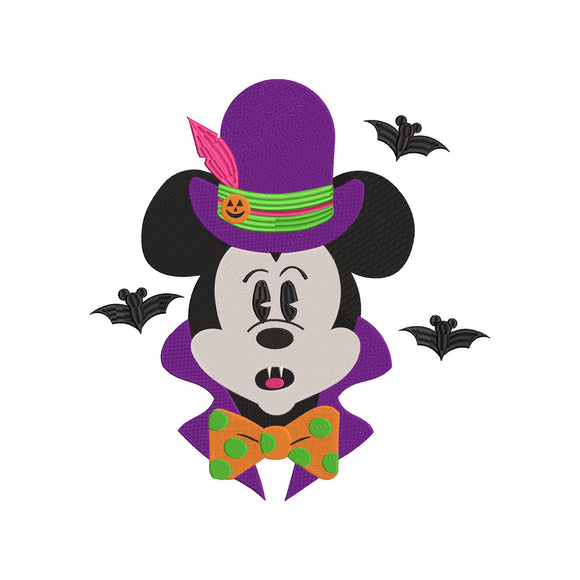 Disney inspired Mickey Vampire Machine Embroidery Design File. 7 sizes