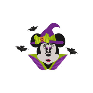 Disney inspired Minnie Vampire Machine Embroidery Design File. 7 sizes