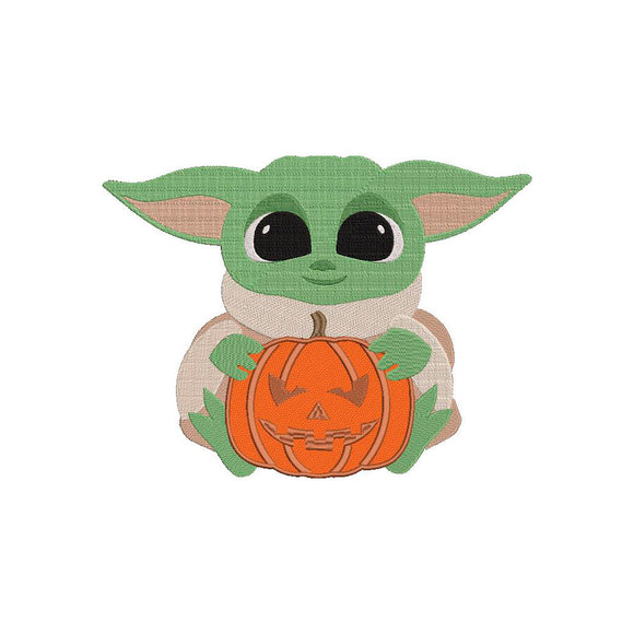 Baby Yoda Halloween Machine Embroidery Design.  5 Sizes