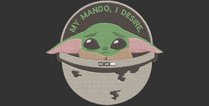 Disney Mandalorian inspired Machine Embroidery Baby Yoda. 4 Sizes.  Baby Yoda is Sad! My Mando I desire.