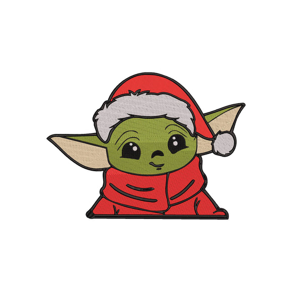 Disney Mandalorian inspired Machine Embroidery Santa Baby Yoda.   2 Sizes.
