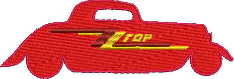 ZZ Top Rock Band inspired Machine Embroidery Design.  3 sizes