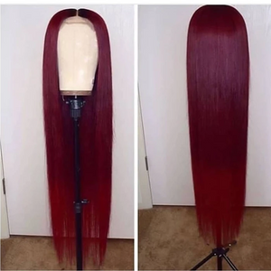 (HOT SALE🔥)Wine Red Human Hair Wig/Straight & Wave