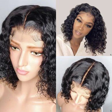 (HOT SALE🔥)BRAZILIAN 360 WATER WAVE 150% LACE WIGS SHORT HUMAN HAIR BOB WIGS LADY WIG