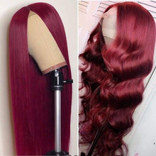 Load image into Gallery viewer, (HOT SALE🔥)Wine Red Human Hair Wig/Straight & Wave