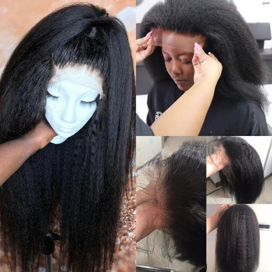 (HOT SALE🔥)KINKY STRAIGHT  WIG BIG SALE 360 LACE FRONTAL WIG WITH BABY HAIR