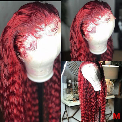 Lace Front Human Hair Burgundy Colored  Curly  Lady Wig