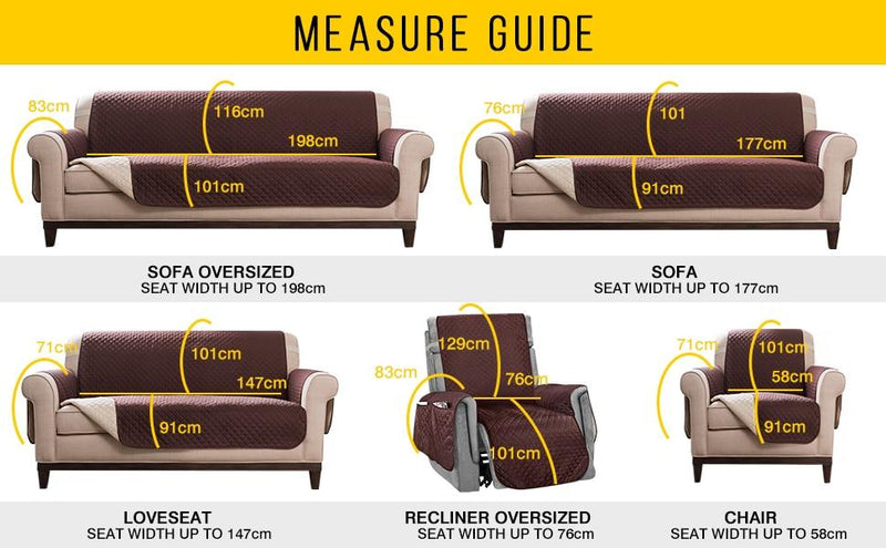 measuring guide for dog couch cover sofa loveseat recliner chair arms, over the back, front, and strap length