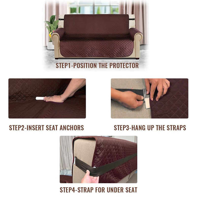 Straps and anchors hold the dog couch cover in place