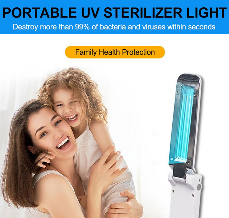 Portable UV UVC UV-C sterilizer light kills 99% of bacteria and viruses in 10 seconds