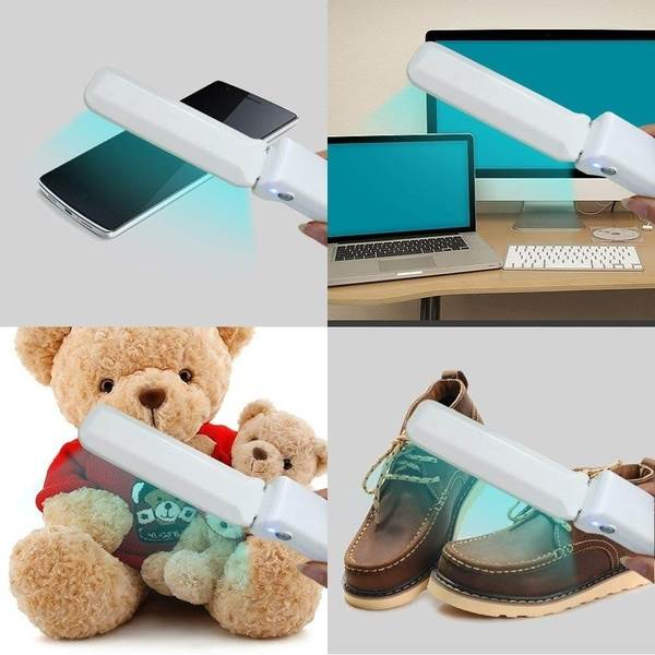 UV-C light wand to disinfect phones, computers, electronics, toys, shoes