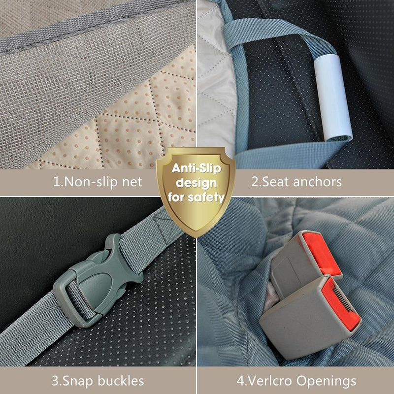 no slip silicone backing and seat anchors keep this dog seat cover firmly in place
