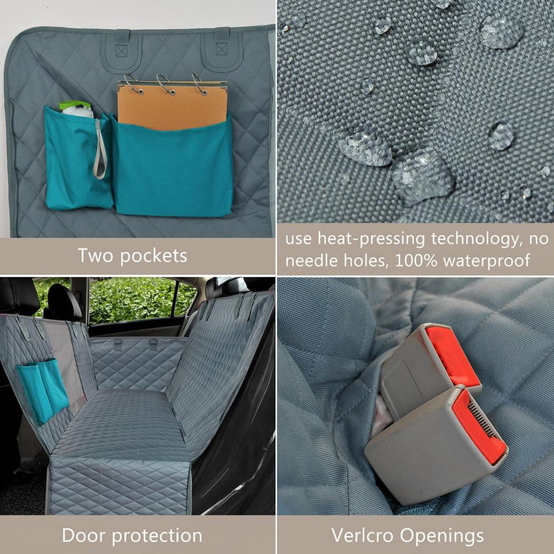 Waterproof car dog seat cover with two pockets