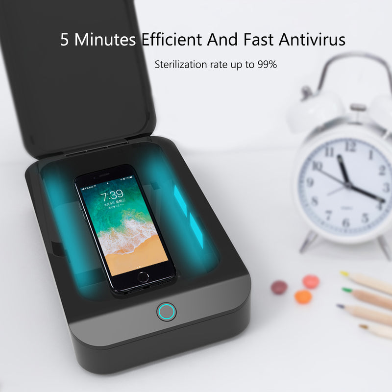 UV light box sterilizes phones to 99% in just 5 minutes - antivirus, antiviral, antibacterial, antigerms