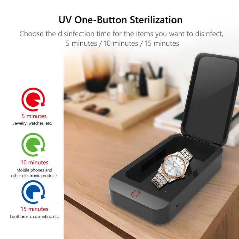 ultraviolet germicidal irradiation (UVGI) for sterilization and sanitation in 5, 10, or 15 minutes: jewelry, watches, phones, electronics, toothbrushes, toiletries, cosmetics.