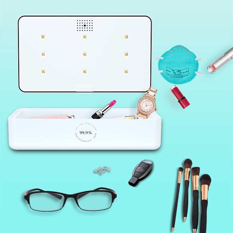 UV-C Light box to disinfect phone and objects: cosmetics, masks, pens, keys, eye glasses, watches, jewelry