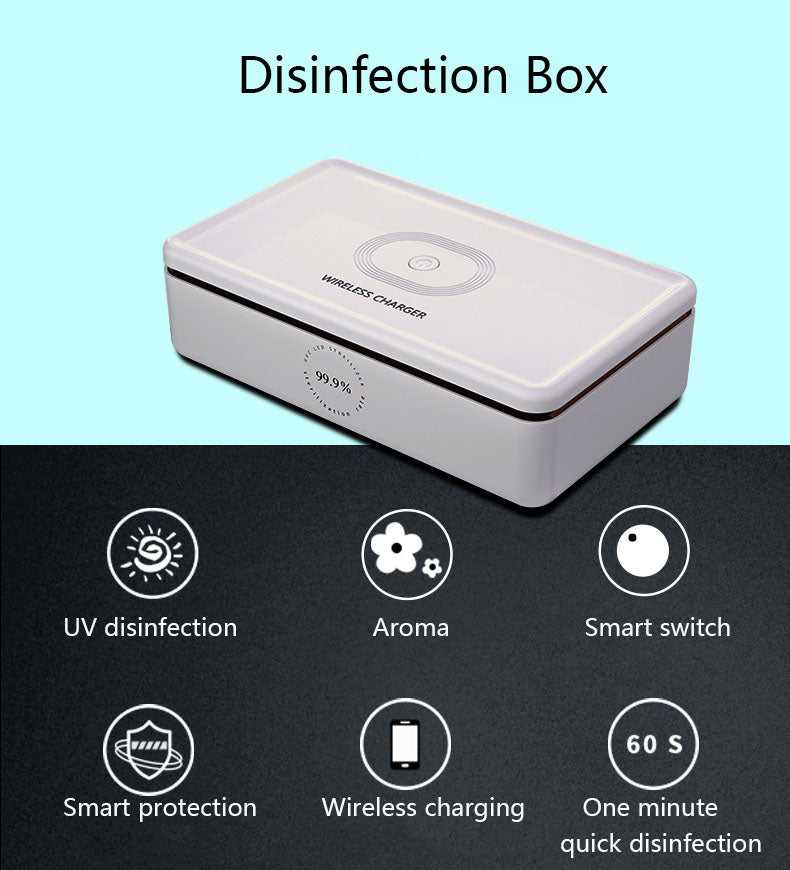 UVGI light box disinfects while wirelessly charging your phone.
