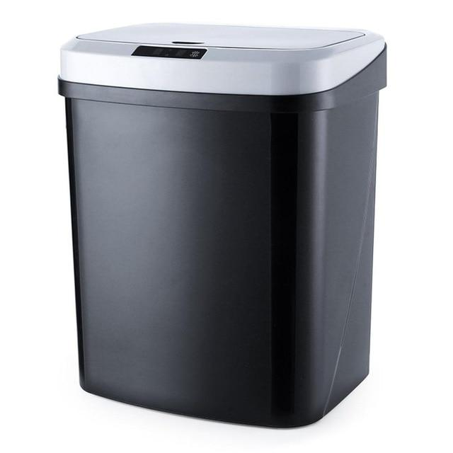 touchless garbage can black