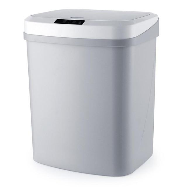 touchless garbage can grey