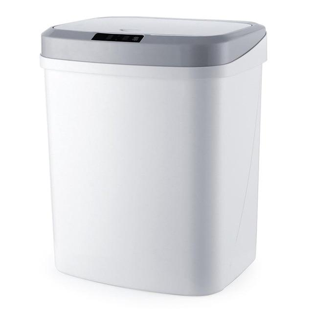 touchless garbage can white