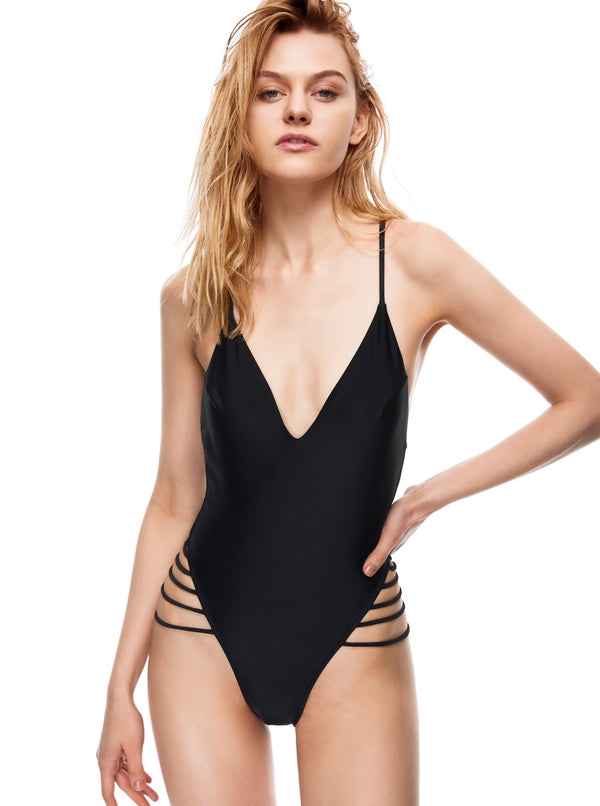 Channel Island strappy one-piece swimsuit black color front view