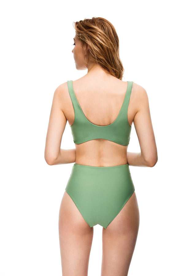 Huntington reversible army green bikini set back view