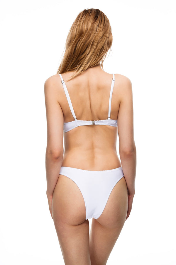 New Port ribbed knit underwired bikini set white color back view